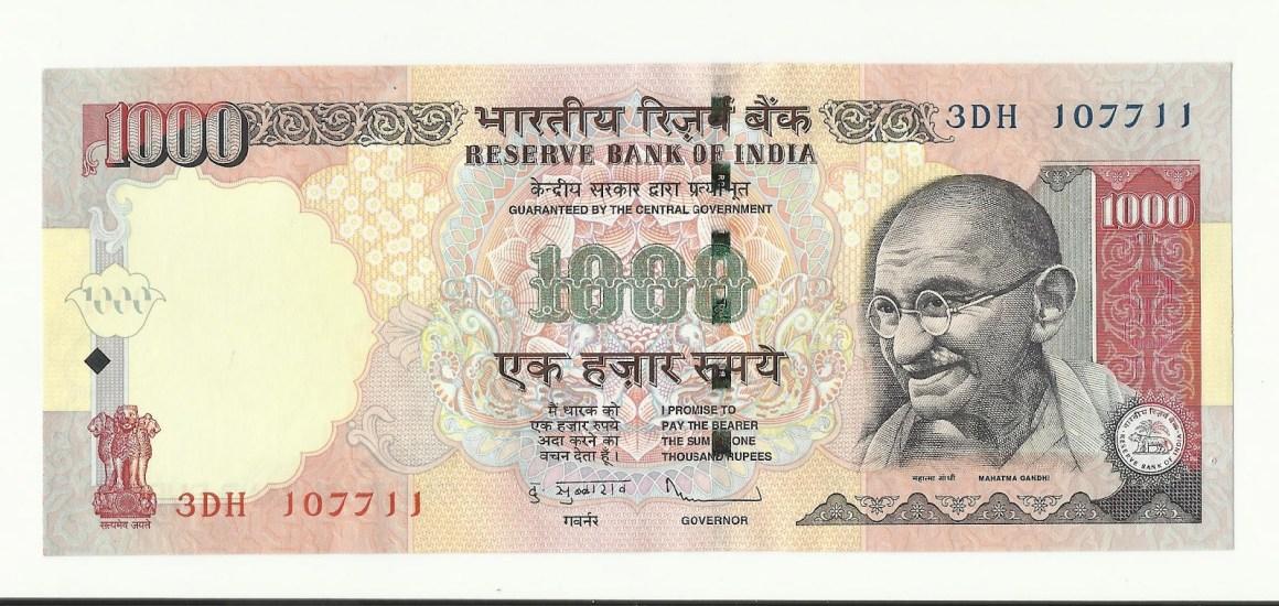 A thousand rupee note
