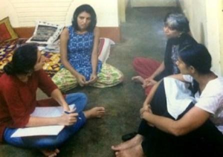 The Jagdalpur Legal Aid Group at work, from left to right: Guneet Kaur, Isha Khandelwal, Shalini Gera, and Parijatha Bhardwaj. Credit: Manish