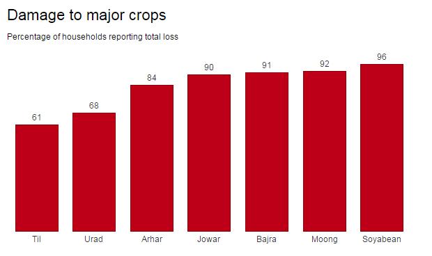 Damage to major crops.