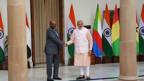 Modi and Bashir at Hyderabad House in New delhi. Credit: PTI