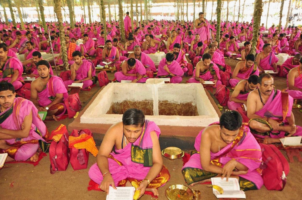 Priests at the Ayutha Chandi Maha Yagam of Telangana Chief Minister K Chandrasheker Rao in Medak on Thursday. Credit: PTI