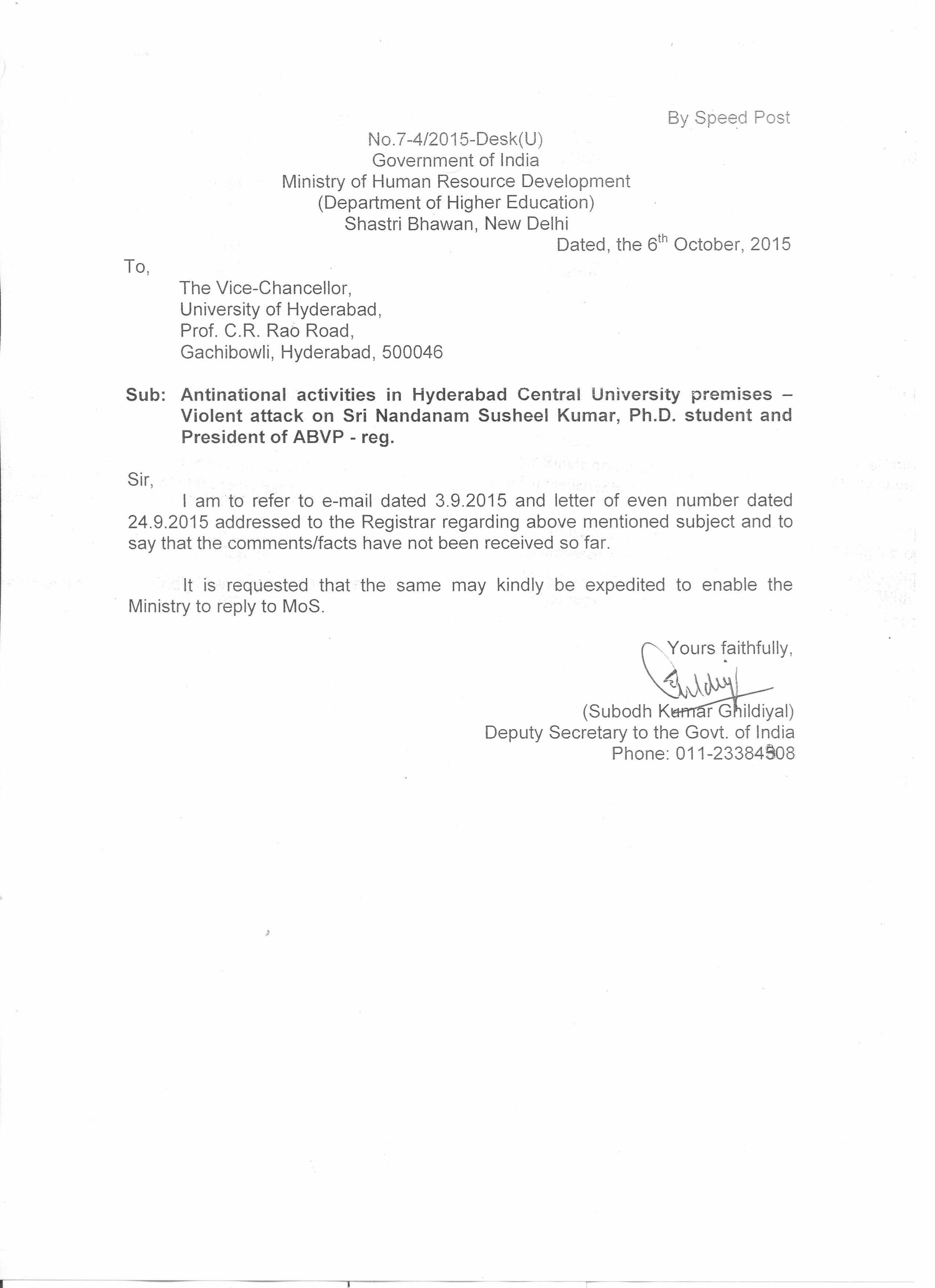 Letter Trail Shows HRD Ministrys Keen Interest In Anti
