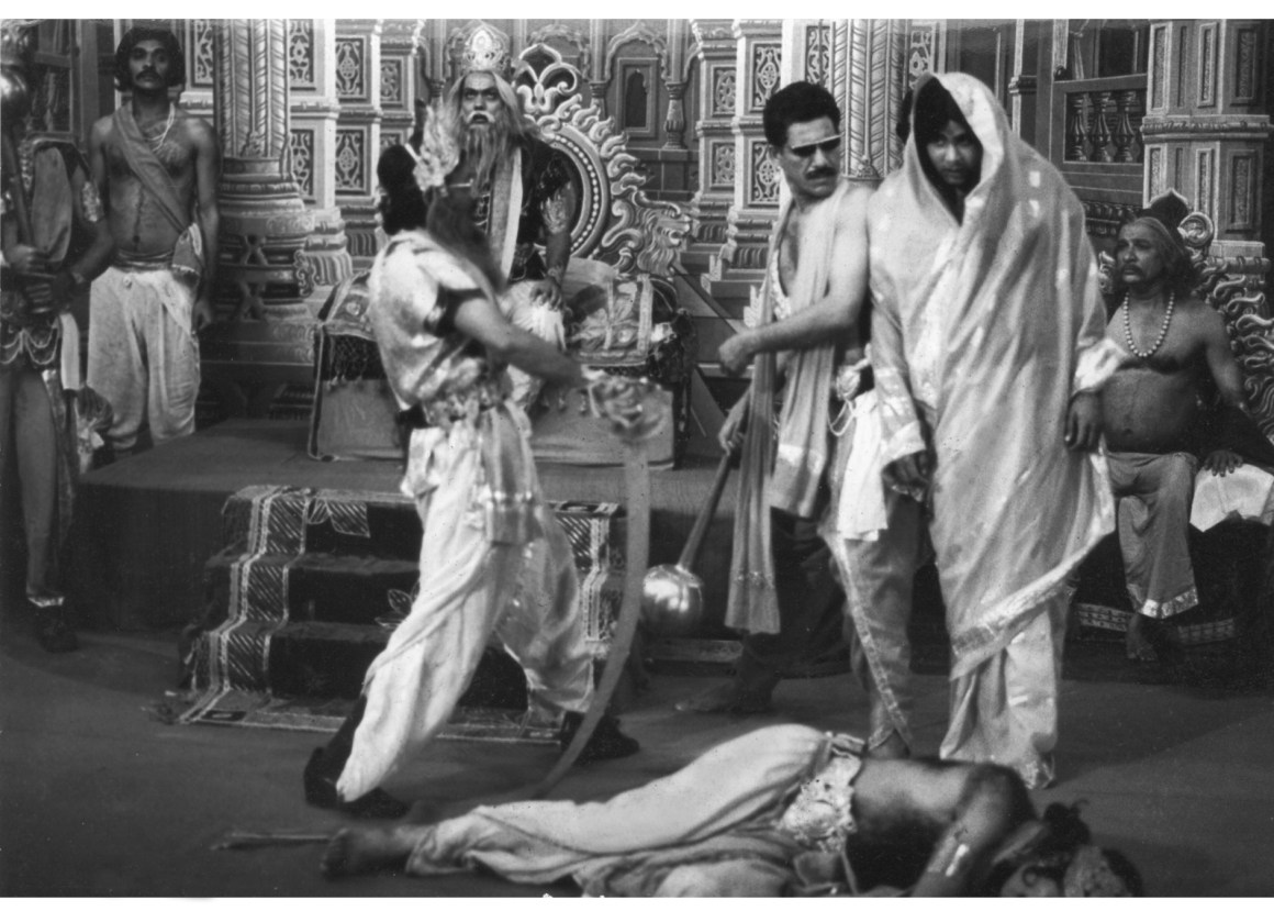 The Mahabharata scene from Kundan Shah's 1983 classic, Jaaney Bhi Do Yaron. A modern filmmaker trying to replicate the satire might well run into trouble with persons claiming their religious sentiments had been hurt.