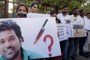 Students in Mumbai staging a protest against the suicide of a Dalit scholar in a Hyderabad Central University, on Thursday. Credit: PTI Photo by Santosh Hirlekar