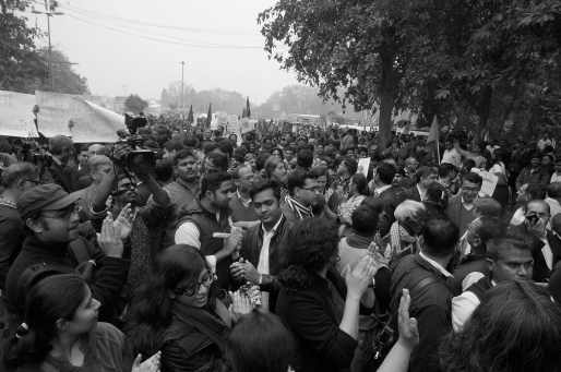 A view of the protest in defence of Kanhaiya Kumar. Credit: Shome Basu