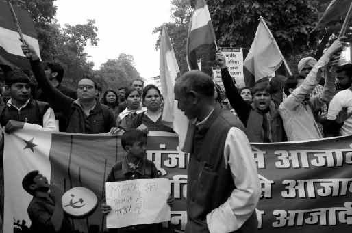 Scenes from the massive demonstration taken out in central Delhi by students, teachers and workers in support of Kanhaiya Kumar, JNU Student Union president, on February 18. Credit: Shome Basu