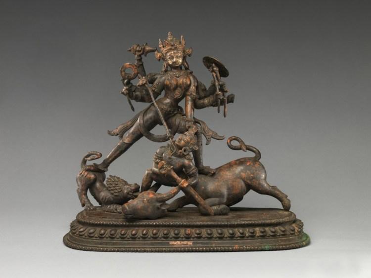 The traditional depiction of Durga slaying Mahishasura. Bronze figure. Credit: Metropolitan Museum of Art, New York