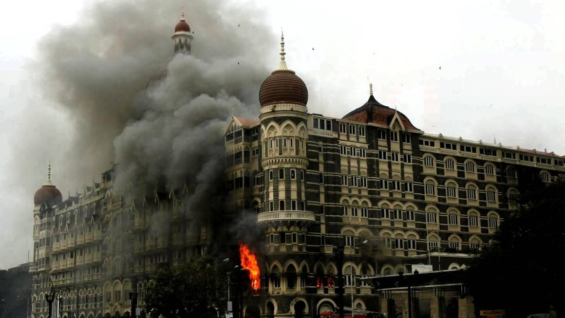The Taj Mahal hotel in Mumbai burns during the 26/11 terrorist attack, 2008 Credit: YouTube video grab