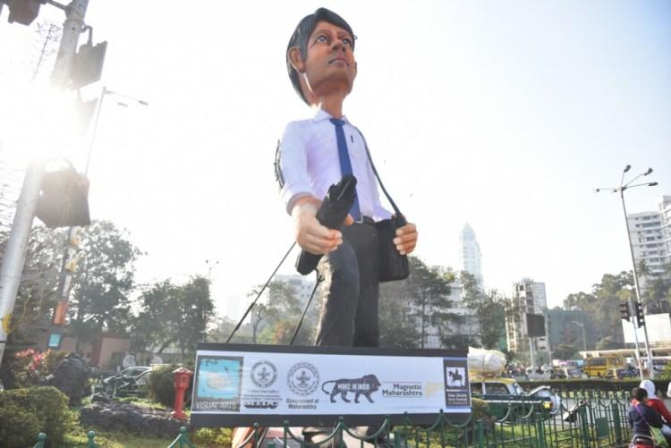 Nagrik, an installation said to represent the Mumbai citizen. Credit: KGAF