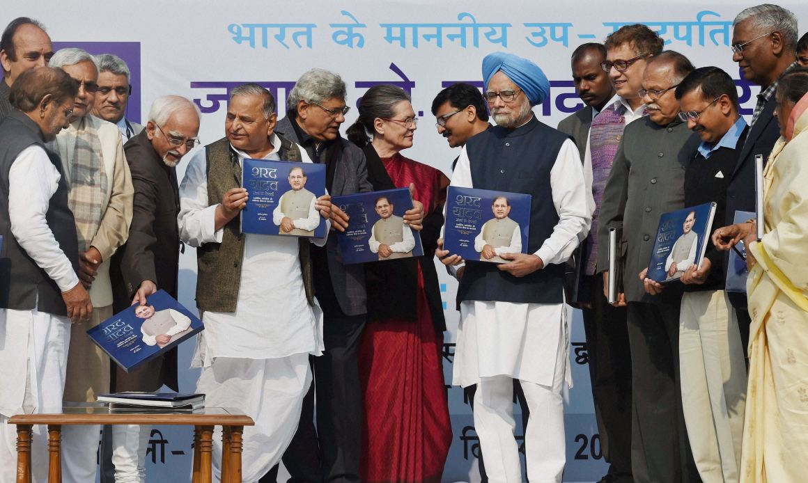 The compulsions of coalition-building. Sitaram yechury of the CPI(M) joins Sonia Gandhi of the Congress and former prime minister Manmohan Singh at a book launch to honour the janata Dal (United) leader Sharad Yadav. Credit: PTI