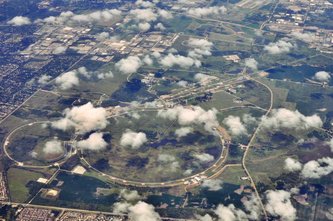 Fermi National Accelerator Laboratory (Fermilab), located just outside Batavia, Illinois. The larger ring houses the Tevatron, a particle accelerator that operated until 2011, when it was shut because its capabilities had been superseded by the LHC. Credit: pedrik/Flickr, CC BY 2.0