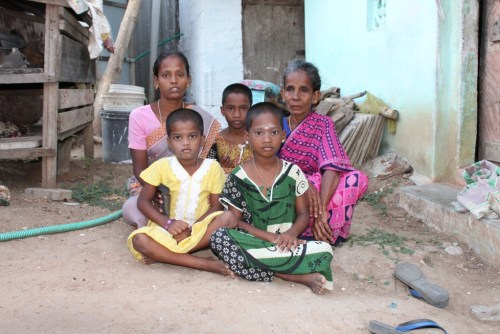 Sumathi is the sole breadwinner, a widow barely making ends meet. Seen in pic are her three daughters and her mother in law Nallamma. Credit: Sandhya Ravishankar