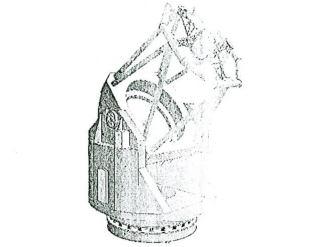 A scan of the sketch of the 3.6-m optical telescope. Credit: ARIES