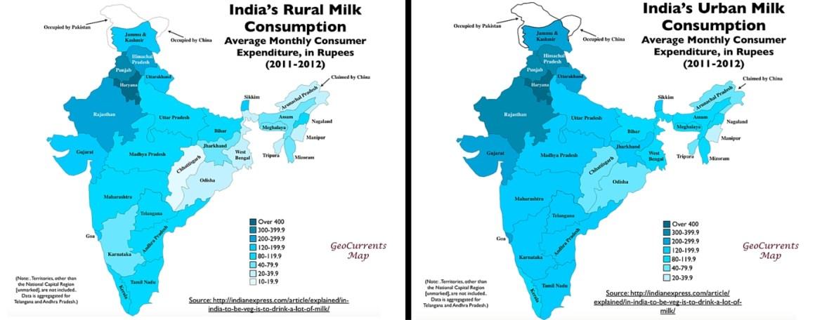 India's rural and urban milk consumption.