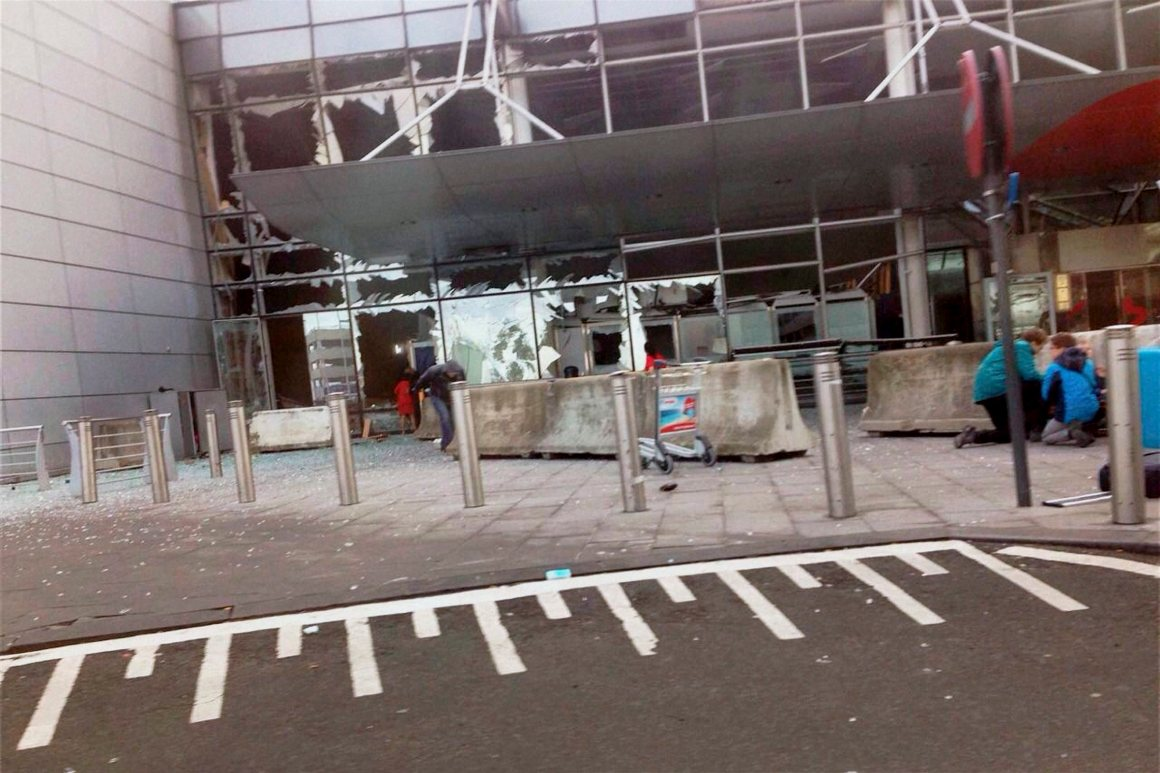 Explosions at Brussels airport in Belgium Tuesday. Credit: PTI