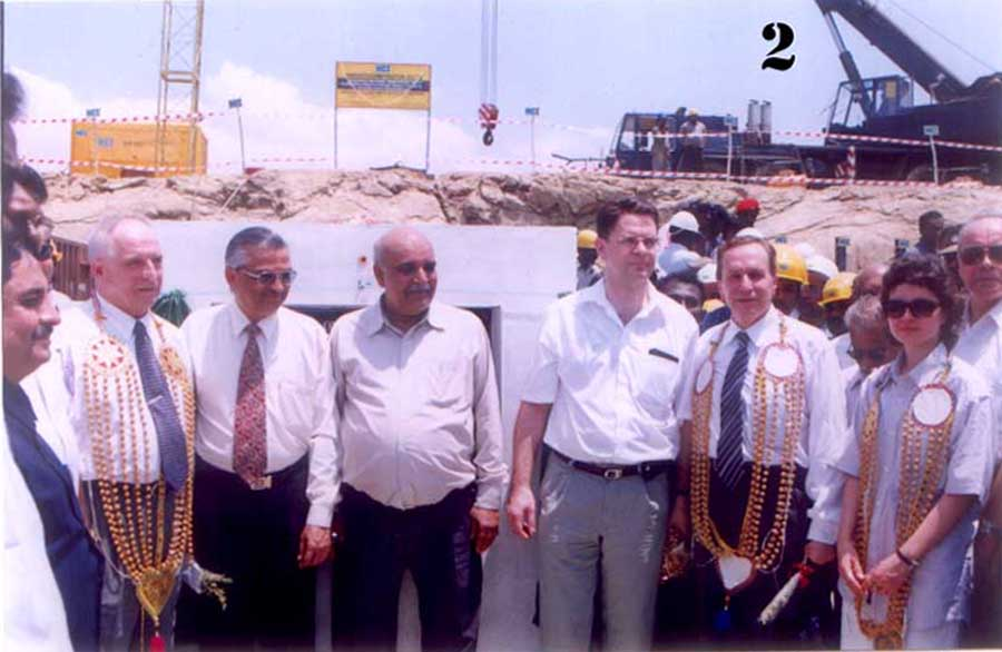 At the commencement of construction of the Kudankulam 1 and 2 reactors on March 31, 2002. Credit: PIB