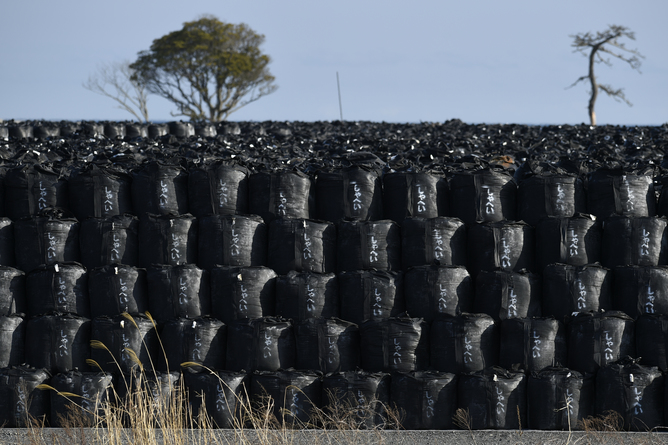 Thousands of bags of radioactive rubble near Fukushima, 2016. Credit: EPA