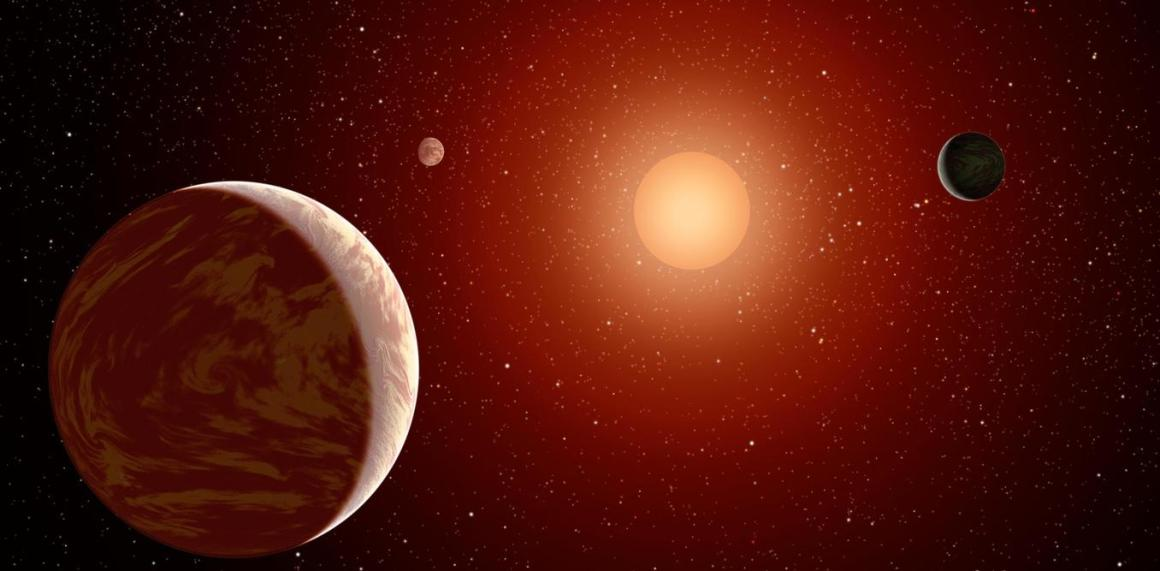 Planets orbiting a red dwarf, much like Krypton's star Rao. NASA/JPL-Caltech