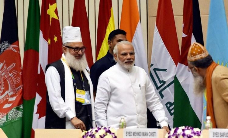 Prime Minister Narendra Modi at the World Sufi Forum in New Delhi. Credit: PTI Photo by Vjay Verma