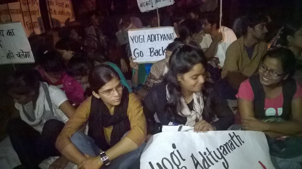 Richa Singh (second from left) at a protest against the plan to get BJP MP Yogi Adityanath to inaugurate the Allahabad University students' union term last year. Credit: Facebook