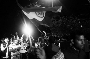 Students within the JNU campus celebrating the granting of an interim bail and subsequent of their union leader Kanhaiya Kumar, March 3, 2016. Credit: Shome Basu