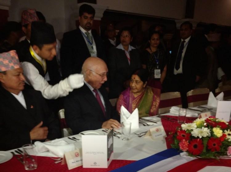 Sushma Swaraj and Sartaj Aziz at the SAARC ministerial dinner in Pokhara, Nepal on Wednesday, March 16, 2016. Credit: Devirupa Mitra