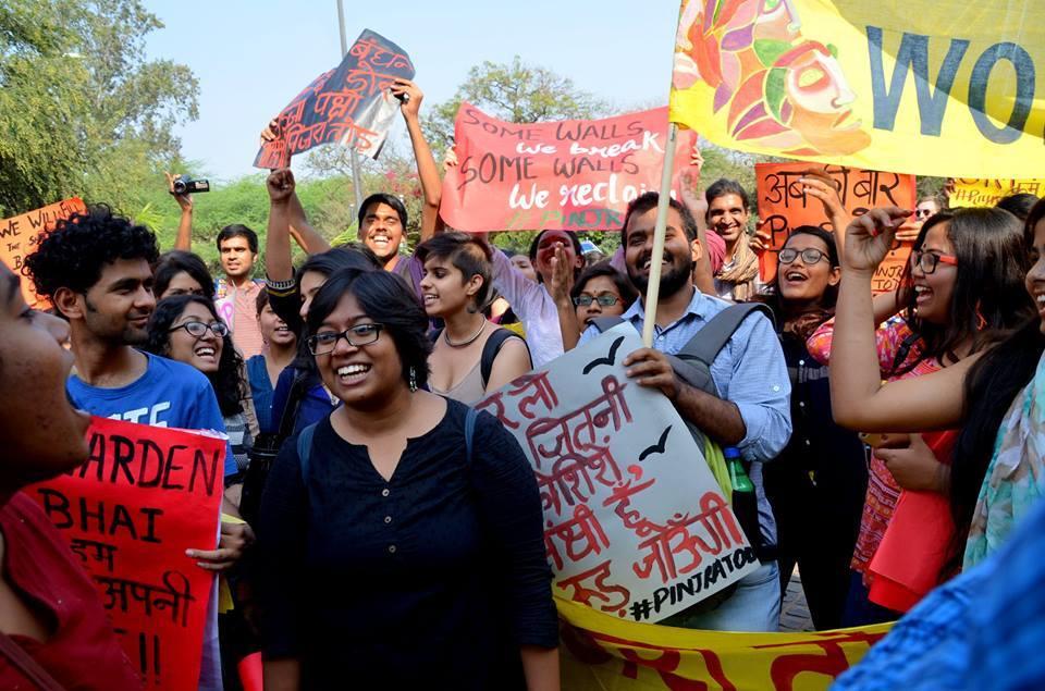 A Pinjra Tod rally on International Working Women's Day. Credit: Facebook/Pinjra Tod