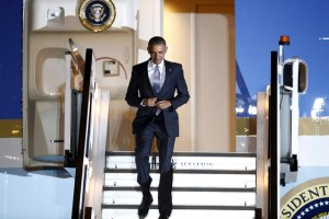 US President Barack Obama walks down the steps of Air Force One as he arrives at Stansted Airport near London, Britain, April 21, 2016. Credit: Reuters/Peter Nicholls
