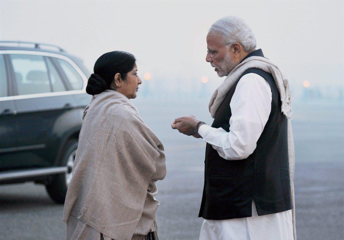 File photo of Prime Minister Narendra Modi with external affairs minister Sushma Swaraj. Credit: PTI
