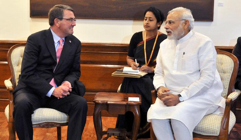 File picture of Prime Minister Narendra Modi with US Defence Secretary Ashton Carter. Credit: PTI