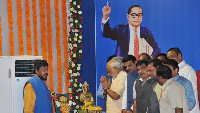 Prime Minister Narendra Modi at Chaitya Bhoomi in Mumbai. Credit: PTI