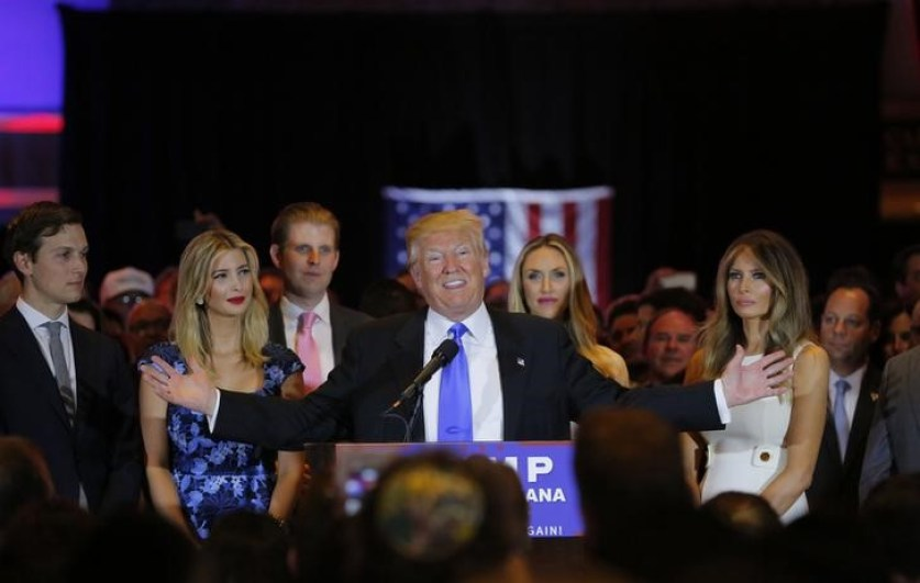 Republican US presidential candidate Donald Trump speaks as (L-R) his son-in-law Jared Kushner, his daughter Ivanka, his son Eric, Eric's wife Lara Yunaska and Trump's wife Melania  look on, during a campaign victory party following the results of the Indiana state primary. Credit: Reuters