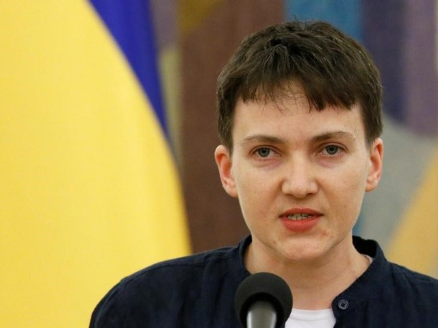 Ukrainian servicewoman Nadiya Savchenko makes a statement in Kiev, Ukraine, May 25, 2016. Credit: Reuters/Valentyn Ogirenko