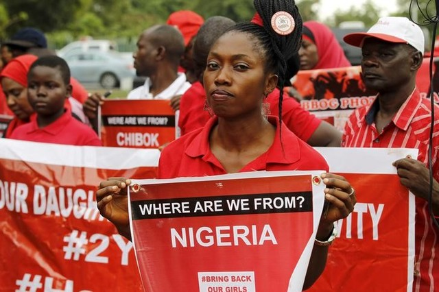 Members of the Bring Back Our Girls campaign group take part in a rally on the second anniversary of the abduction of Chibok school girls by Boko Haram, in Abuja, Nigeria, April 14, 2016. Credit: Reuters/Afolabi Sotunde/Files