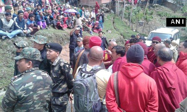 Two killed in police firing on protestors in Tawang, Arunachal Pradesh. Credit: Twitter/ANI