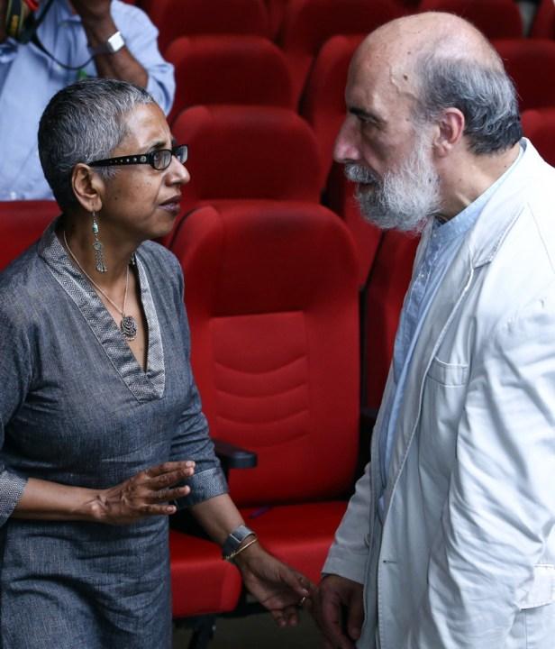 Chilean poet-revolutionary Raul Zurita in conversation with writer Sharmistha Mohanty. Both will feature in the 3rd Kochi-Muziris Biennale. Credit: MD Niche