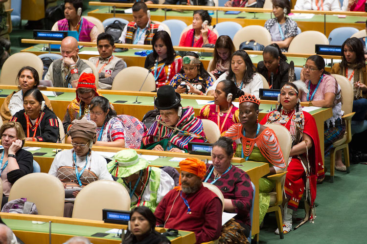 A view of participants in the General Assembly Hall during the opening ceremony of the Fifteenth Session of the United Nations Permanent Forum on Indigenous Issues. Credit: UN Photo/Rick Bajornas