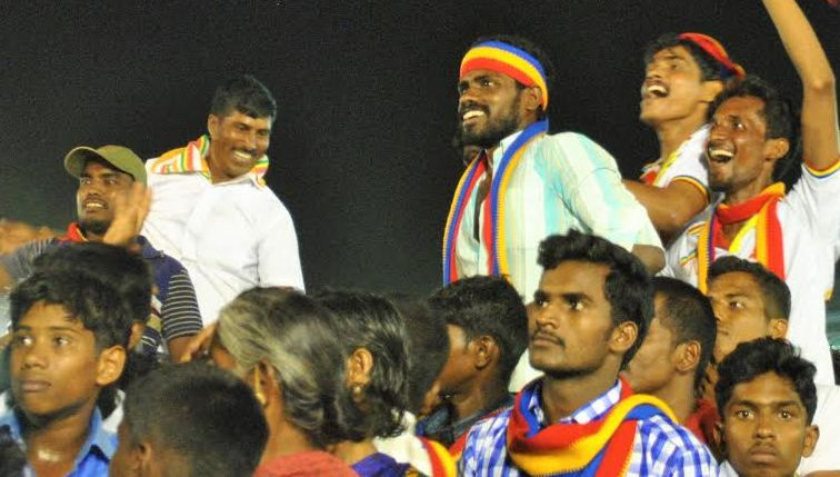 Young men scream as PMK's Anbumani Ramadoss steps on to the stage. Credit: Rohini Mohan
