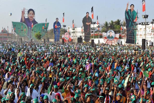 Supporters of AIADMK leader J. Jayalalithaa during the election campaign for the Tamil Nadu state assembly elections, 2016. Credit: PTI.