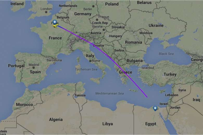 The route of EgyptAir flight MS804. Credit: Flightradar24.com