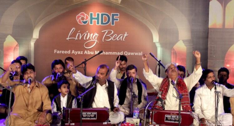 Fareed Ayaz and Abu Muhammad Qawwal perfom at a fundraiser. Credit: Hussain Afzal, White Star.