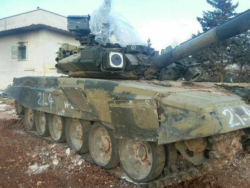 """This photograph of a Russian-made T-90 after it took a direct hit from a US-made advanced anti-tank missile – suggests its """"reactive armour"""" worked as intended. Credit: Russian military website"""