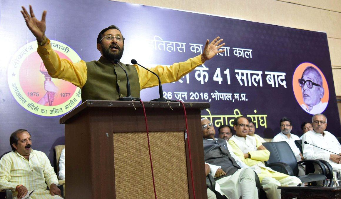 Environment minister Prakash Javadekar addressing a seminar in Bhopal on June 26. Credit: PTI