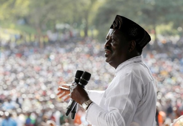 Kenyan opposition leader of the Coalition for Reforms and Democracy (CORD), Raila Odinga addresses supporters at a rally to celebrations to mark Kenya's Madaraka Day, the 53rd anniversary of the country's self rule, at Uhuru Park grounds in Nairobi, Kenya, June 1, 2016. Credit: Reuters/Goran Tomasevic
