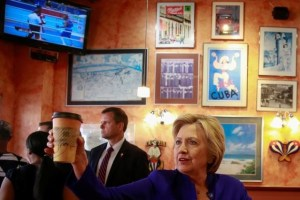 Democratic US presidential candidate Hillary Clinton stops for a coffee at Omar's Cafe after a campaign event in Newark, New Jersey, US, June 1, 2016. Credit: Reuters/Adrees Latif