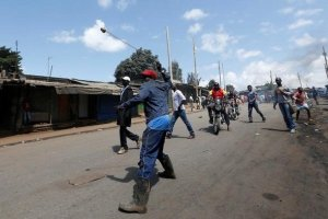 A supporter of Kenya's opposition Coalition for Reforms and Democracy (CORD) uses a sling to hurl stones towards their opponents during a protest against at the Independent Electoral and Boundaries Commission (IEBC) to demand the disbandment of the electoral body ahead of next year's election in Nairobi, Kenya, June 6, 2016. Credit: Reuters/Thomas Mukoya