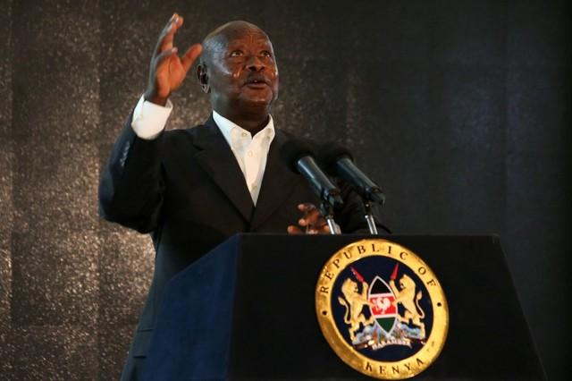 Ugandan President Yoweri Museveni addresses an audience in Nanyuki, Laikipia county, Kenya, April 29, 2016. Credit: Reuters/Siegfried Modola