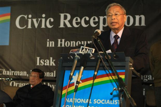 File photo of Isak Chishi Swu speaking at a political rally. Seated behind him is Th. Muivah. Credit: PTI