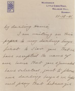 """My darling Homi, I am writing on this paper to my darling boys just to share you that we have accepted the name of our house that you and Jamshed have selected, first to please our darling boys & we hope and pray that Mehrangir..."" Meherbai (mother) to Homi Bhabha, December 11, 1941. Credit: TIFR Archives"