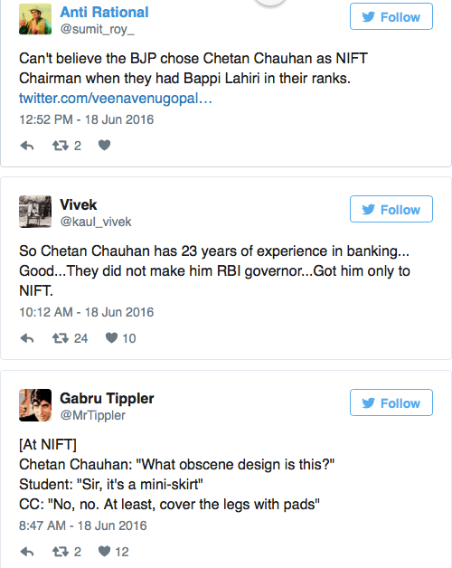Screen shot of tweets in reaction to Chauhan's appointment. Credit: Twitter